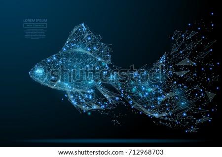 polygonal magic gold fish