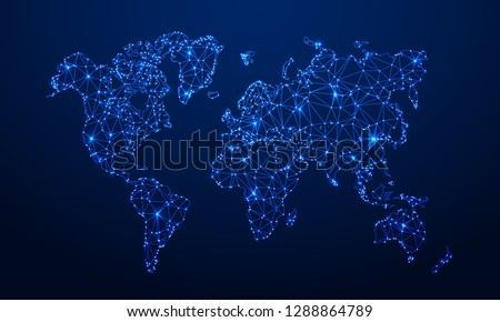 Polygonal map. Digital globe map, blue polygons earth maps and world internet connection 3d grid. Global earth map, geography mapping futuristic atlas vector concept illustration