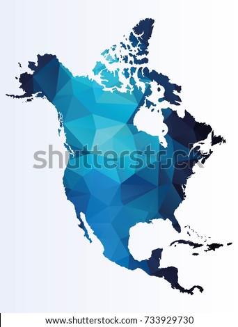 Polygonal map of North America