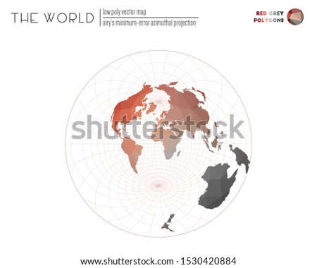 Polygonal map of the world. Airy's minimum-error azimuthal projection of the world. Red Grey colored polygons. Trending vector illustration.
