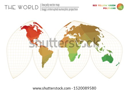 Polygonal map of the world. Bogg's interrupted eumorphic projection of the world. Red Yellow Green colored polygons. Contemporary vector illustration.
