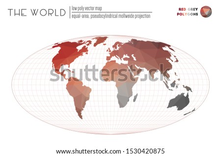 Polygonal map of the world. Equal-area, pseudocylindrical Mollweide projection of the world. Red Grey colored polygons. Stylish vector illustration.