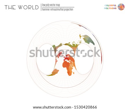 Polygonal map of the world. Hammer retroazimuthal projection of the world. Colorful colored polygons. Contemporary vector illustration.