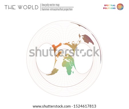 Polygonal map of the world. Hammer retroazimuthal projection of the world. Spectral colored polygons. Trending vector illustration.