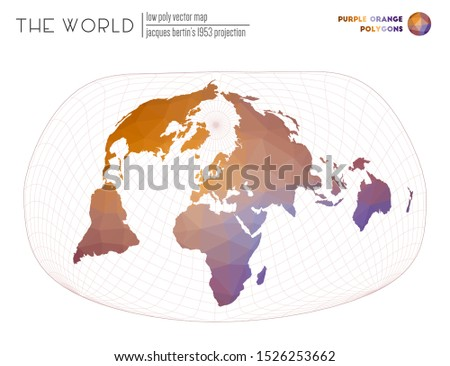 Polygonal map of the world. Jacques Bertin's 1953 projection of the world. Purple Orange colored polygons. Elegant vector illustration.