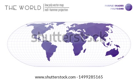 Polygonal map of the world. Nell-Hammer projection of the world. Purple Shades colored polygons. Amazing vector illustration.