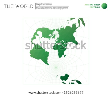 Polygonal map of the world. Transverse spherical Mercator projection of the world. Yellow Green colored polygons. Energetic vector illustration.