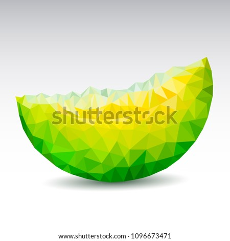 Polygonal Melon. Low poly. Vector illustration.