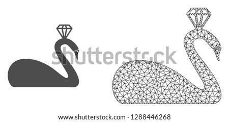 polygonal mesh crowned swan and