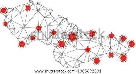 Polygonal mesh Czechoslovakia map with coronavirus centers. Abstract mesh connected lines and flu viruses on Czechoslovakia map. Vector wireframe 2D polygonal network in black and red colors. ストックフォト ©