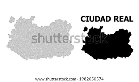 Polygonal mesh map of Ciudad Real Province in high detail resolution. Mesh lines, triangles and dots form map of Ciudad Real Province. Foto stock ©