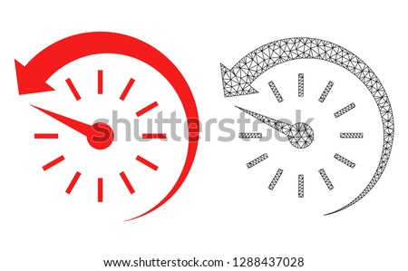 Polygonal mesh time backward and flat icon are isolated on a white background. Abstract black mesh lines, triangles and dots forms time backward icon.