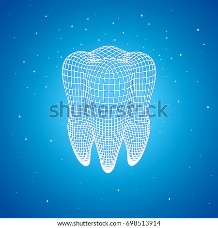 Polygonal mesh tooth on a blue background. Active reducing pellets of calcium and fluorine. Protection of enamel. Bleaching. SENSITIVE Repair & Whitening. Sensitive Instant Relief. 3d render.