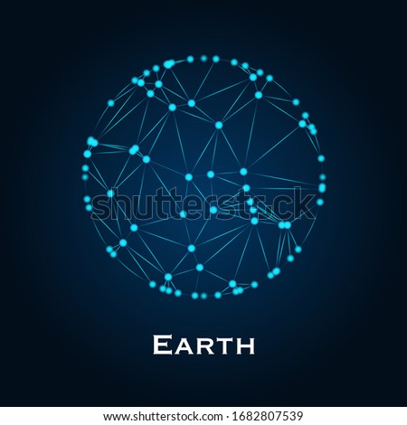 Polygonal Planet Earth. Triangle polygonal planet in solar system planet with copy spaces for your text. Polygon design. Low polygon vector illustration with white background.