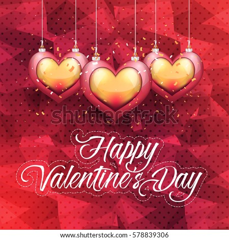 Polygonal Postcard with Happy Valentines Day Celebration Design. Greeting Card Design, Vector Colorful Love Text Elements, Low Poly Background or Flyer, Poster