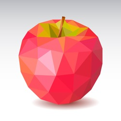 Polygonal Red Apple. Low poly. Vector illustration.