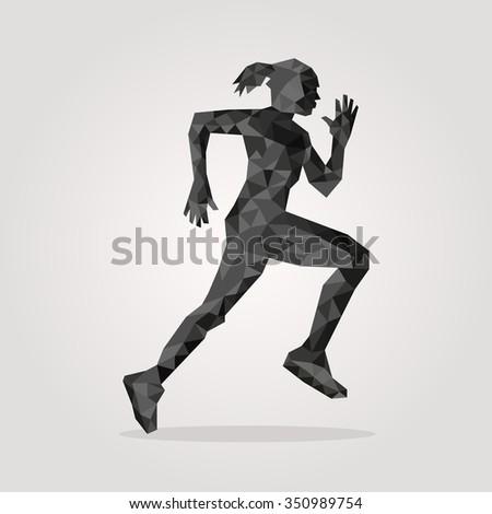 polygonal runner on gray
