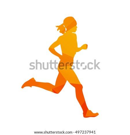 Polygonal running woman, run