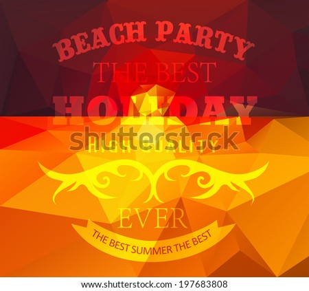 Polygonal seaside view summer poster  with typography elements. Polygonal background illustration #197683808
