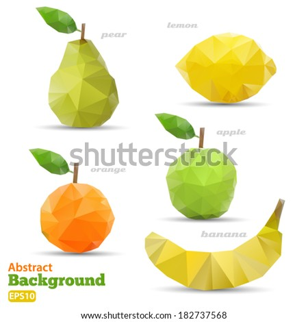 Polygonal set fruit Abstract geometric origami style Vector EPS 10 illustration