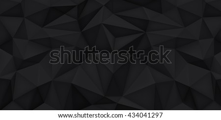 Polygonal shapes background, low poly triangles mosaic, black crystals backdrop, vector design wallpaper