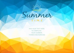 Polygonal shapes Summer time background with text - illustration. Polygonal shapes vector illustration of a glowing Summer time background.