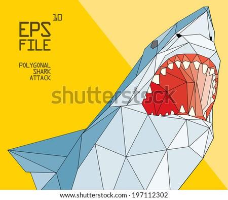 polygonal shark illustration