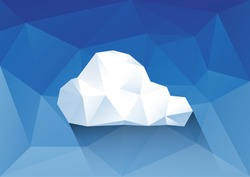 Polygonal sky and cloud Polygonal background, vector, illustration, eps10.
