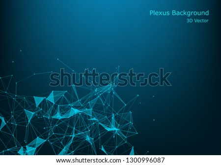 Polygonal space wireframe background communication. Global network connections template. Complex lines and dots backdrop. Digital data visualization. Low poly illustration.