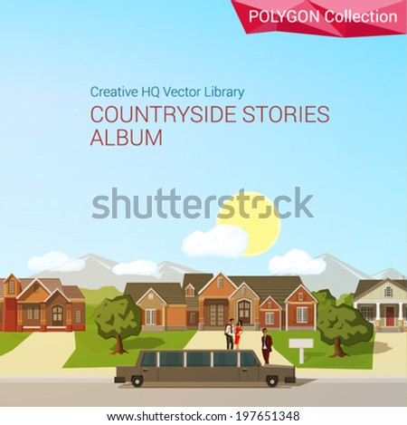 Polygonal style countryside concept. Architecture design elements. Limousine rich district mansion copyspace. Polygon world collection.