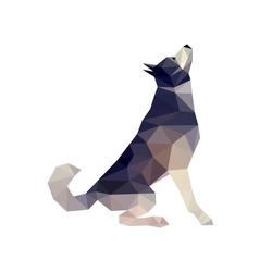 Polygonal style husky dog figure, malamute dog, vector illustration