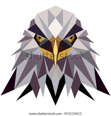 Stock Photo Polygonal Style Illustration American Eagle, Bald eagle. Low poly illustration American Eagle,Bald eagle