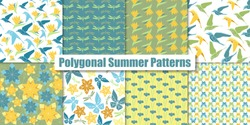 Polygonal summer patterns. Origami elements: bird-of-paradise, tulip, iris, dragonfly, butterfly stars and birds