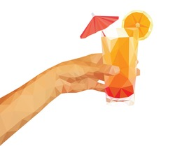 polygonal technique hand holding a summer drink orange juice with an umbrella.