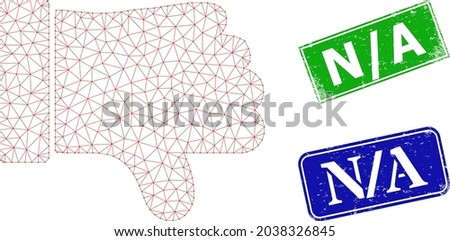 Polygonal thumb down image, and N - A blue and green rectangle corroded stamp seals. Polygonal wireframe image is designed with thumb down icon. Seals have N - A title inside rectangle shape. Stock fotó ©