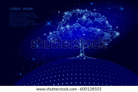 polygonal tree on dark blue sky
