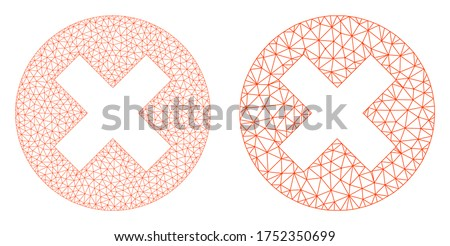 Polygonal vector delete icon. Mesh wireframe delete image in low poly style with organized triangles, nodes and linear items. Mesh concept of triangulated delete, on a white background.