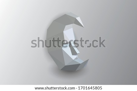 Polygonal vector gray moon. Low poly design.