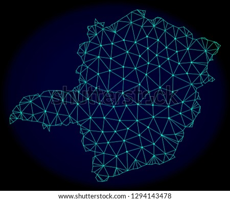 Polygonal vector mesh map of Minas Gerais State. Connected lines, triangles and points forms abstract map of Minas Gerais State. Wire frame 2D polygonal line network on a dark blue background.