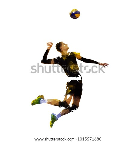 Polygonal volleyball player serving ball, geometric vector illustration