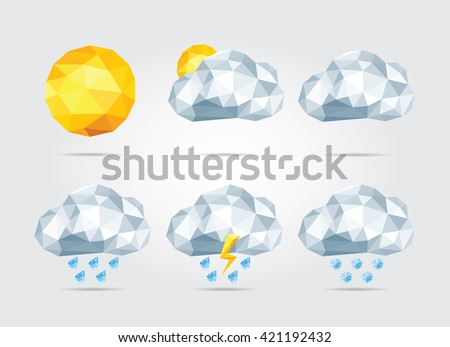 Polygonal Weather Icons Set in Vector