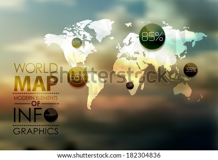 Polygonal World Map and Information Graphics. World Map and typography