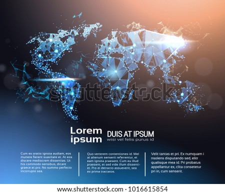 Digital technology earth world map on blue background with dots polygonal world map infographic banner with copy space global travel and international connection concept vector gumiabroncs Image collections