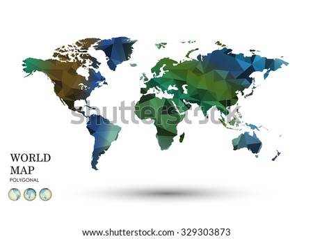 Polygonal World Map vector.