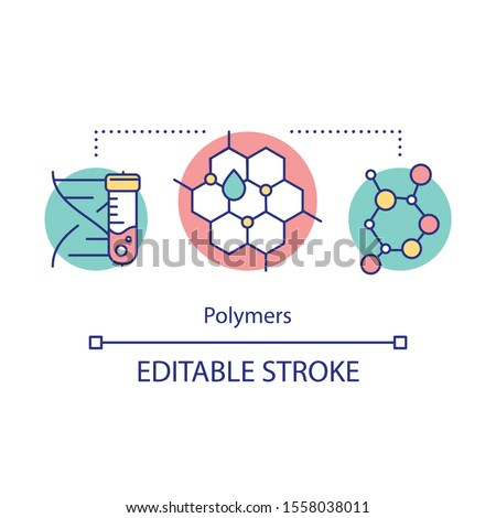 Polymers concept icon. Biomimetic materials. Biopolymers. Polymeric biomolecules. Molecular structure. Bioengineering idea thin line illustration. Vector isolated outline drawing. Editable stroke Foto stock ©