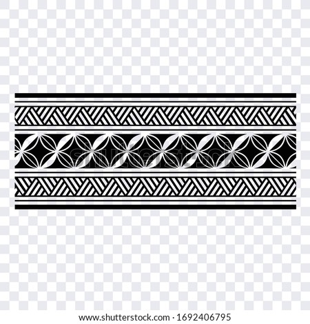 Polynesian band tribal tattoo. Set of ethnic seamless black and white maori borders patterns in the style of aboriginal Polynesian Samoan lace ornament for creating designs and print layouts.
