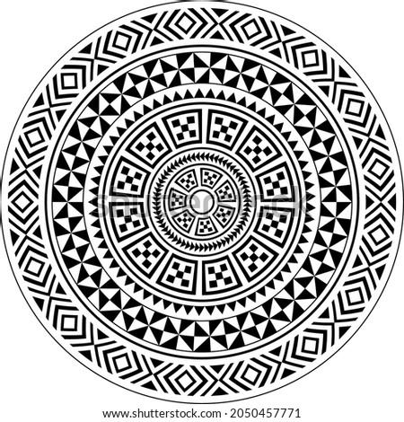 Polynesian circle tattoo style mandala, polynesian hawaiian mandala pattern vector, inspired by traditional art from Polynesia