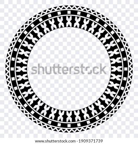 Polynesian Circle Vector Border. Fijian Tribal Ethnic Design.