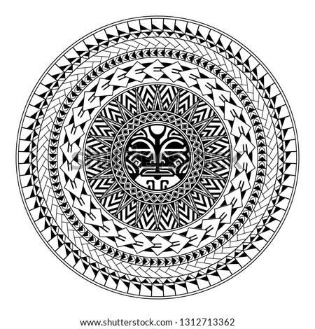 Polynesian circular ornament. Polynesian tattoo. Maori style. Abstract face