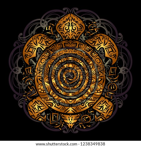 Polynesian golden tribal sea turtle tattoo on the shell on a black background. Totemic animal. Toned Maori style.